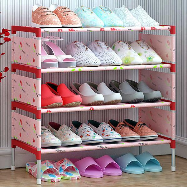 wholesale 4/6 Layer Shoes Storage Rack DIY Non-wove Shoe Display Shelf Galvanized Pipe Organizer Assemble Shoe Cabinet Shoe