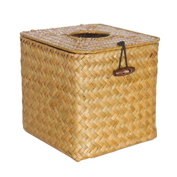 Tissue Box Storage Case Container Car Desktop Pumping Paper Home Organizer Handmade Decoration Seaweed Woven Table Napkin Holder