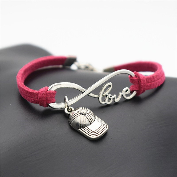Vintage Rose Red Leather Suede Adjustable Bracelets Bangles For Women Men Fashion Infinity Love Hip Hop Baseball Cap Hat Sports Cuff Jewelry