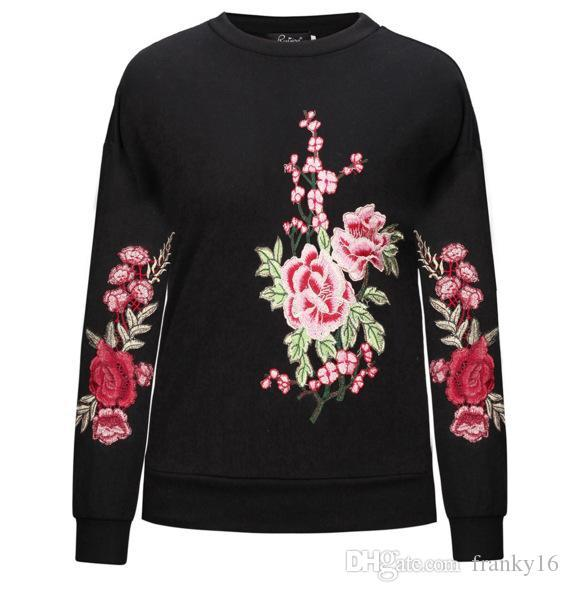 2018 Hot Sale Fall Winter Flower Embroidered Long Sleeve Hoodie Sweater Black Gray Cotton Pullover Down Jacket Coat