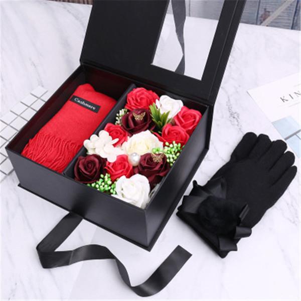 Оптовая новая мода мыло цветок шарф перчатки подарочная коробка творческий новинка Рождественский подарок женская любовь День рождения красивый подарок