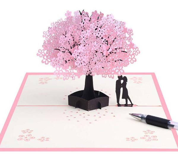 Kiraz Çiçekleri 3d Tebrik Kartı Romantik Çiçek Pop Up Tebrik Kartları Düğün Tebrik Kartları Sevgililer Günü Için Pop Up Kart