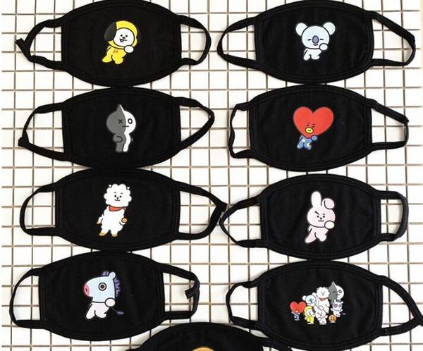 BTS Gesicht Mundmaske Unisex Mundmuffel Unisex Atemschutz Stop Luftverschmutzung Cartoon Schöne Baumwolle Maske Gesichtsschutz Masken