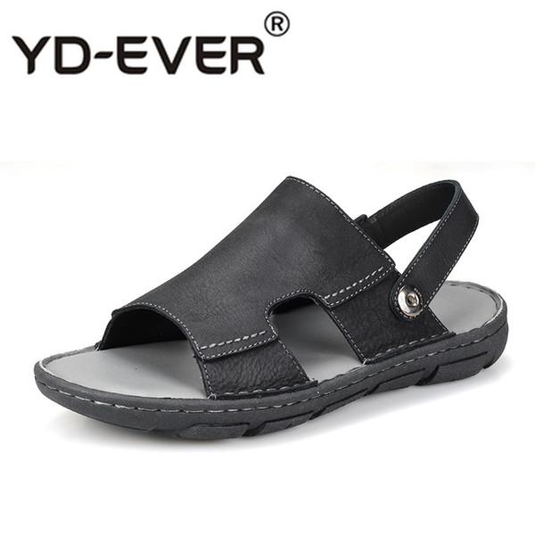 Véritables sandales en cuir pour hommes pantoufles d'été en cuir de vache spartiates hommes plage chaussures de sport en plein air tongs homme anti-dérapage