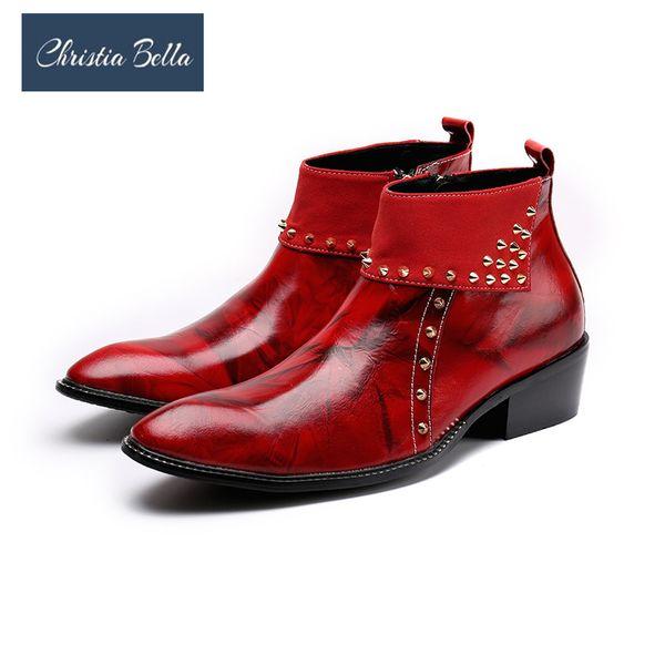 Christia Bella Herbst Winter Männer Schuhe aus echtem Leder Stiefel New Fashion Rivets Spitzstiefel Large Size Ankle