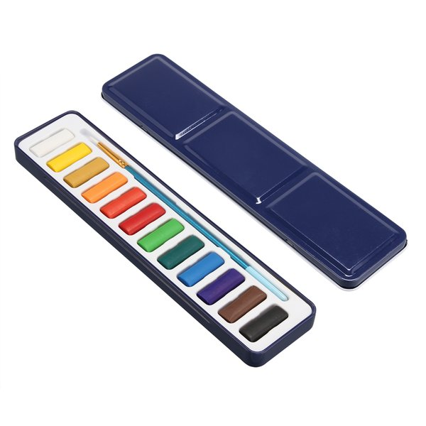 12 Watercolour Paint Set With Brush In Case Painting Water Colour Art Artist Kit