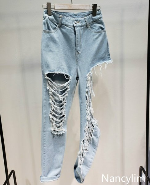 New Spring Summer Large Hole Open Legs Street Wind Sexy Beggar Jeans Pants Female Girls Washed Denim Trousers Pants Nancylim