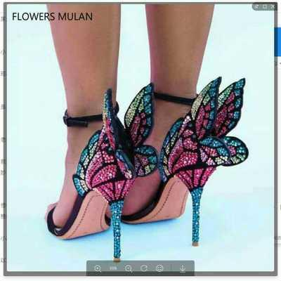Free shipping 2019 Ladies patent leather high heel colourful diamond 3D butterfly ornaments Sophia Webster open toe SANDALS SHOES 34-42