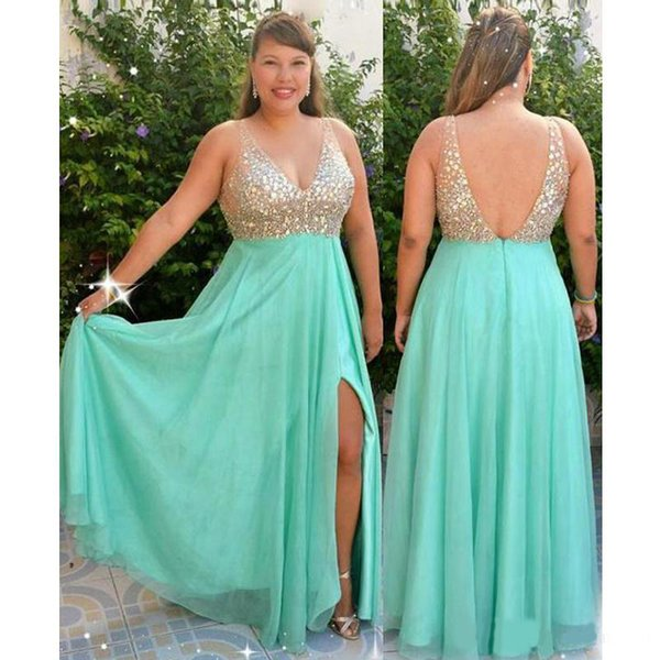 Luxury Crystal Top Mint Green Plus Size Special Occasion Prom Evening Dress  V Neck Chiffon 2020 Empire Long Red Capart Cheap Formal Gowns Plus Size ...