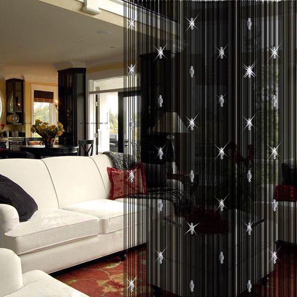 Wholesale-modern blackout curtains for living room with glass bead door string curtain white black coffee window drapes decoracao cortinas