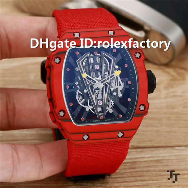 Top Luxury 27-03 Skeleton Dial Wristwatch Automatic Mechanical Titanium Carbon 904L Steel Case Sapphire Red calfskin strap Mens Watch