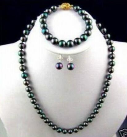 Prett Schöne Frauen 7-8mm schwarz Akoya Zuchtperlen Halskette Armband Ohrring 18