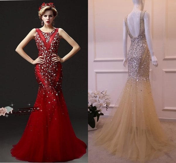 Luxury Mermaid Evening Dresses Heavy Manual Nail Bead Prom Dresses Red Champagne - New Diamond Long Party Prom Dresses