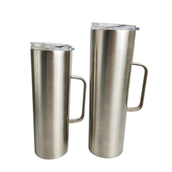 20 oz 30 oz maigre Tumbler double paroi en acier inoxydable isolé sous vide Coupe droite bière tasses à café avec couvercle et poignée KKA7658
