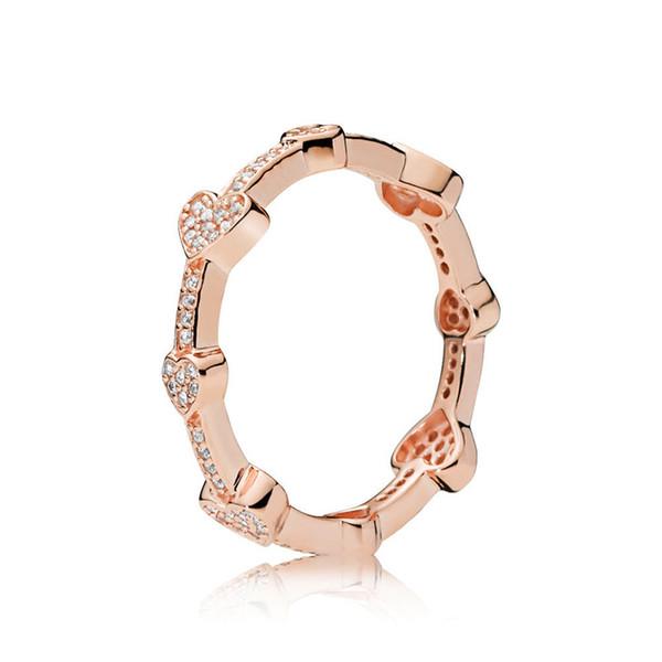 Bague en argent sterling Pandoa 925 en forme de coeurs en forme de perles en or rose et en argent pur Bijoux de mariage Fille Fille comme un cadeau