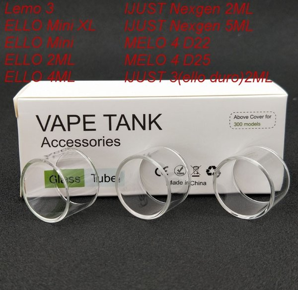 300pcs Original Replacement Pyrex Glass Tube for Eleaf LEMO 3/ELLO Mini XL/ELLO Mini/ELLO 2ML/ELLO 4ML/IJUST 3 Tank DHL