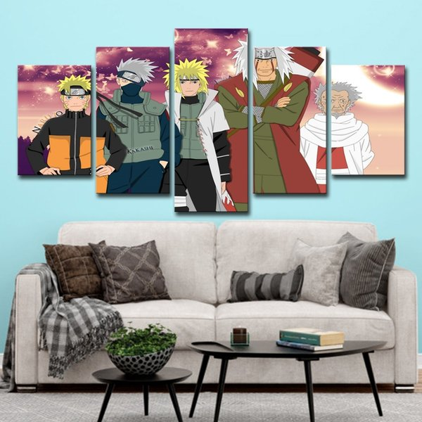 5Pcs Cartoon Naruto Anime Poster Wall Art HD Print Canvas Painting Fashion Hanging Pictures