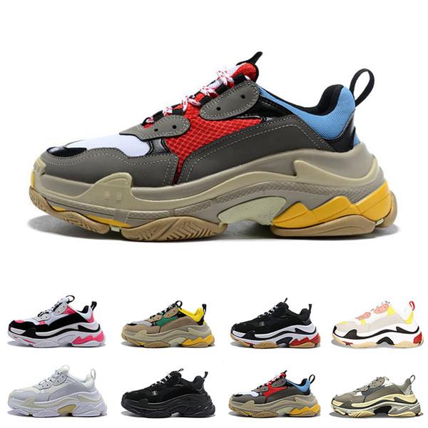 2019 designer de moda paris 17fw triplos s sapatilhas para mulheres dos homens preto vermelho branco verde casual pai shoes tênis de luxo aumentando sapato 36-45