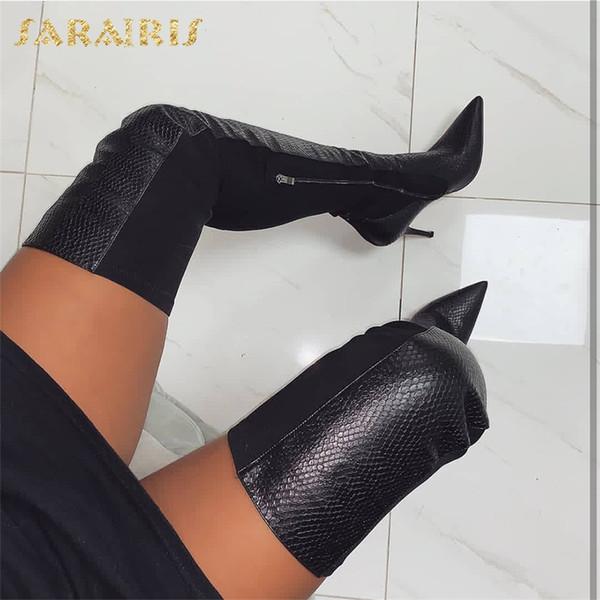 Sarairis New INS Hot Pointed Ladies Scarpe tacchi alti Donna Casual Party Sexy Autunno Inverno Coscia alta sopra gli stivali al ginocchio