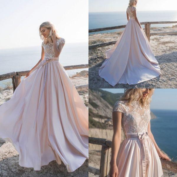 Une superbe ligne de plage robes de mariée en dentelle Top Jewel mancherons balayage train Boho Robes de mariage PRÉCÉDENT 2020 vestido de novia