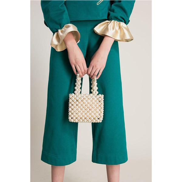 good quality Brand Women Handbag Hand-woven Pearl Bag Evening Bag Clutch High Quality Vintage Handbag Casual Tote Fashion