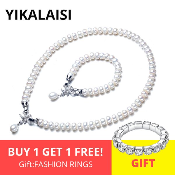 Yikalaisi 925 Sterling Silver Natural Freshwater Pearl Necklace Bracelet Butterfly Sets Jewelry For Women 8-9mm Pearl 4 Colour Y19051302
