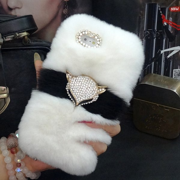 Luxury Bling Fox head Warm Soft Beaver Rabbit Fur Hair Phone Cases For iPhone X XR XS MAX 6 6SPlus 7 8 Plus protective phone bac