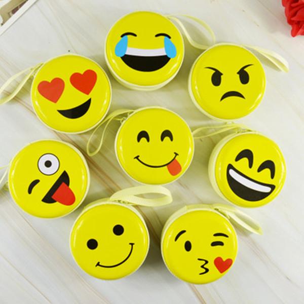Gülümseme Yüz Karikatür Cüzdan Kişilik Kulaklık Çanta Fermuar Hediyeler Emoji Gülümseme Küçük Sarı QQ İfade Dolması Oyuncak Çanta için Kolye