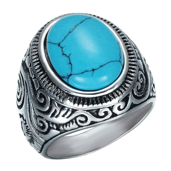 Stainless steel Turquoise crack stone Rings Mens high quality Green Gemstone Ancient silver Carved Punk Rings For Male s Fashion Jewelry