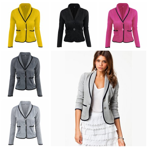 Turn Down Collar Women Blazer 5 Colors Quarter Sleeve Button Pockets Jackets Short Suit Slim Patchwork Coat OOA6427