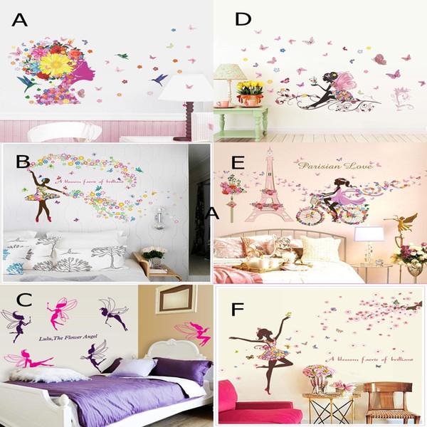 Mix Sipariş Çiçek Kız Duvar Sanatı Çıkartmaları DIY Kız Duvar Çıkartmaları Elf Duvar Kağıdı Oturma Odası ve Yatak Odası için Ev Dekorasyon