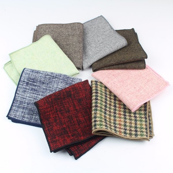 High Quality Wool Cotton Pocket Square Skinny Handkerchief Narrow Solid Color Slim Clothing Accessories T191109