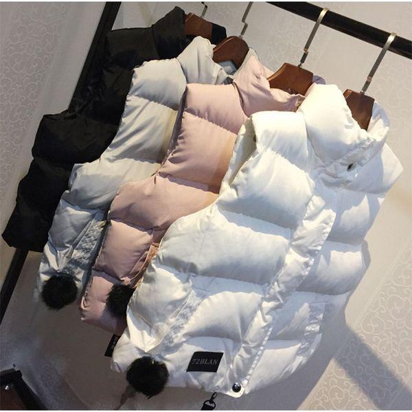 2019 Autunno Inverno Donna Giacca imbottita con gilet Giacca grigia Colletto caldo da donna Cerniera Cappotto in vita Moda Moda Capispalla GJ296