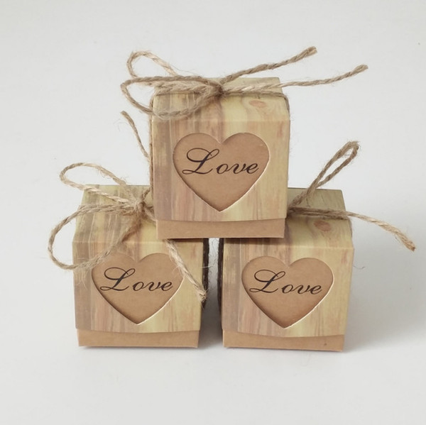 Grosshandel Vintage Herzform Kraftpapier Verpackung Box Diy Geschenk