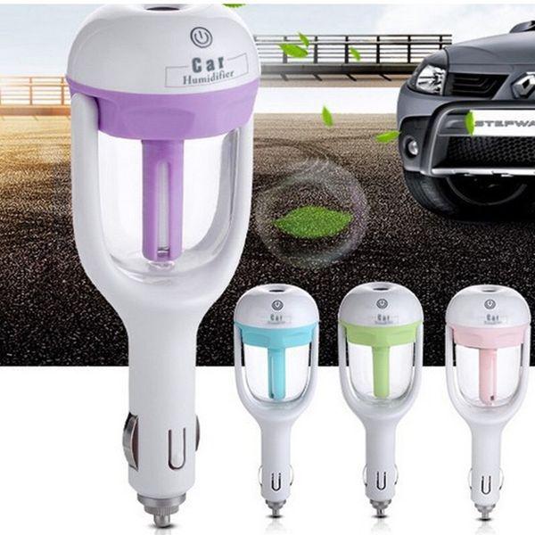 top popular Car Air Humidifier Fresh Refreshing Fragrance Vehicular Essentialh Diffuser Oil Ultrasonic Humidifier Aroma Mist Diffuser 4 Colors HHA90 2020