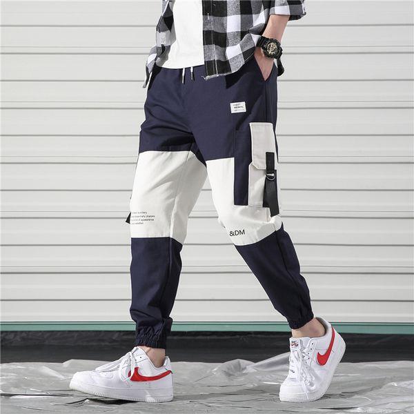Tasche laterali Pantaloni cargo da uomo Casual Harajuku Color Block Patchwork Nastri Pantaloni Pantaloni Hip Hop Streetwear Pantaloni jogger da uomo Harem