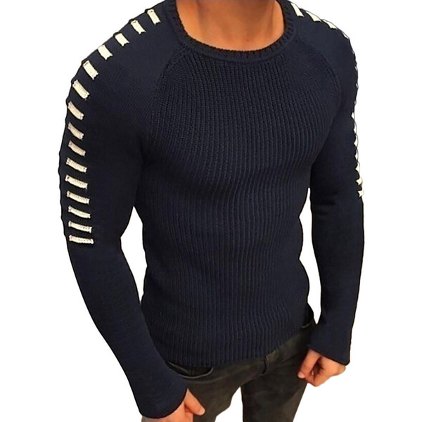 Men Winter Long Sleeve Solid Knitted Sweater Pullover Tops Blouse blusa masculina Patchwork Winter Warm Merk Klassieke