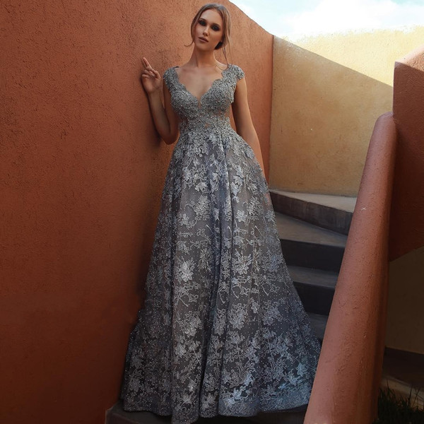 Luxury Grey Beaded Lace 2019 African Evening Dresses Deep V-neck Cap Sleeves Prom Dreses Sexy Vintage Formal Party Bridesmaid Gowns