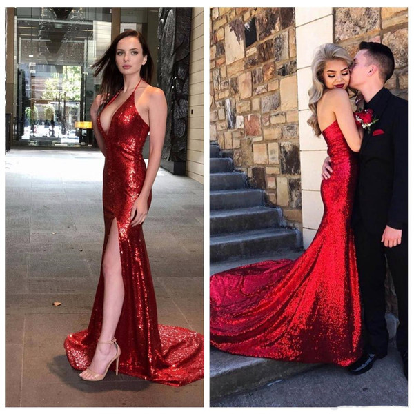 2019 Dark Red V Neck Sequins Mermaid Prom Dresses Sexy High Slits Vestidos De Fiesta Sweep Train Formal Long Evening Party Prom Gowns
