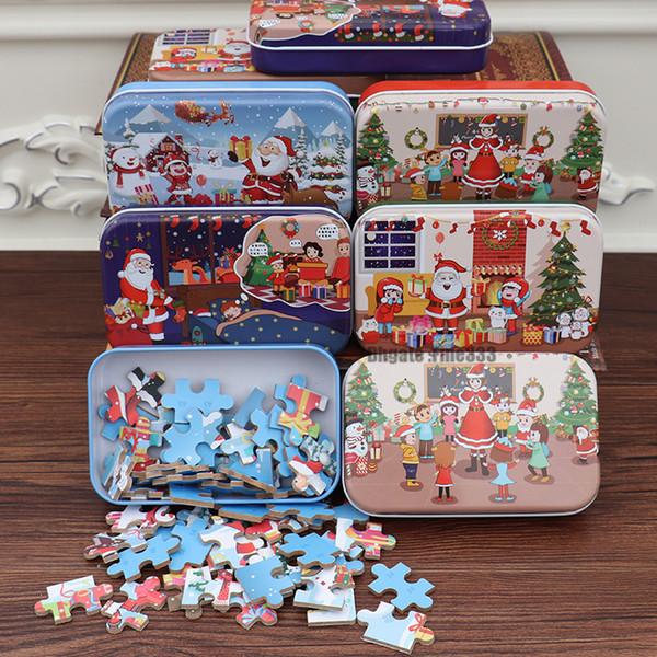 Noël Puzzles Jouets 60pcs jouets pour enfants en bois éducation Puzzle bébé apprentissage Jouets éducatifs pour les enfants cadeau