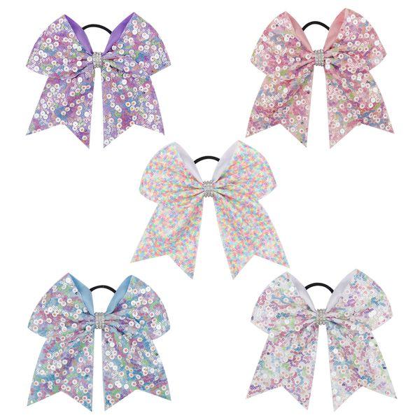 7 Inch Rainbow Sequin Cheer Bows Rhinestone Bow-knot Hair Bows With Elastic Hair Bands For Girls Cheerleading Hair Accessories