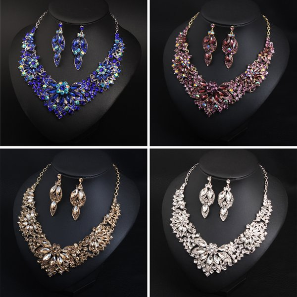 Fashion Women Jewelry Set Charming Necklace+Earrings For Bridal Wedding Party