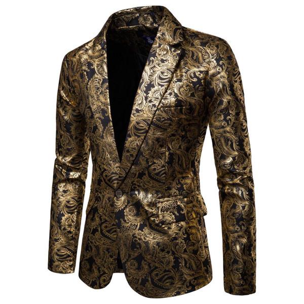 Men One Button Gold Foil Stamping Golden Floral Printed Suit DJ Club Stage Wedding Sport Suit Slim Formal Fit Casual Men Blazer
