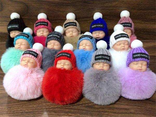 Mignon Sleeping Baby Doll Keychain Pompon fourrure de lapin boule porte-clé de voiture Keyring femmes Porte-clés Sac pendentif Accessoires charme
