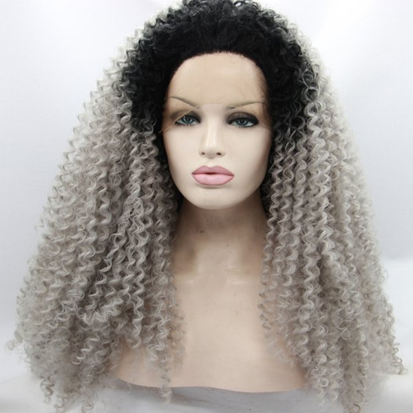 Ombre Afro Kinky Curly Gray Synthetic Lace Front Wig Glueless Two Tone Natural Black/Silver Grey Heat Resistant Hair Women Wigs