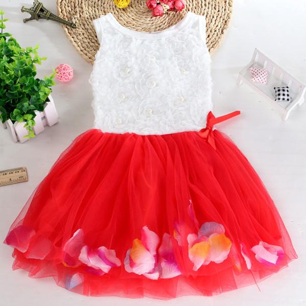 Crianças designer de Vestido Do Bebê Meninas Verão Floral Flor Sem Mangas Menina De Malha De Tule TUTU Saia Da Praia Multicolor Crianças Princesa Vestido de Noiva B362