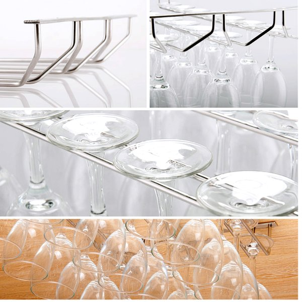 Behogar Wall Bar 35cm Length One Double Three Rows Stainless Steel Champagne Wine Stemware Glass Cup Holder Hanger Display Rack