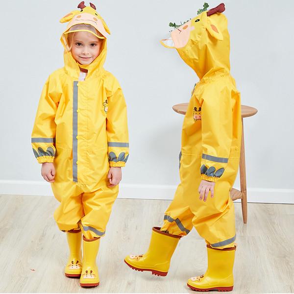 Cappotto di pioggia tuta di poliestere animale cartone animato Cute bambini impermeabile impermeabile bambini cintura riflettente cappello grande poncho baby rainwear
