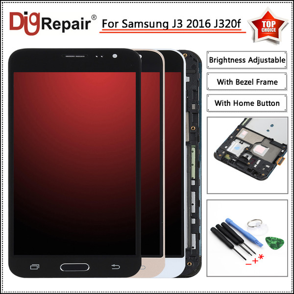 j320f lcd For Samsung Galaxy J3 2016 LCD J320F J320FN J320M LCD Display Digitizer Touch Screen j3 2016 Display Frame Home Button