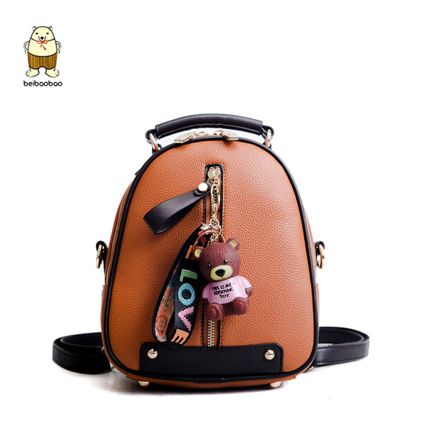 Beibaobao New Brand 2019 Backpacks Small For Girls Pu Leather Fashion Women Bags Daypack With Top Zipper J190610